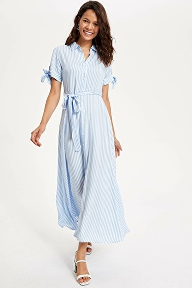 DeFacto Kuşaklı Çizgili Dokuma Elbise Mavi
